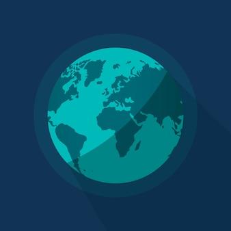Ilustração de planeta globo terrestre no fundo do espaço azul
