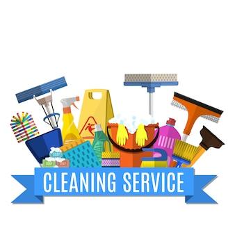 Ilustração de plano de serviço de limpeza