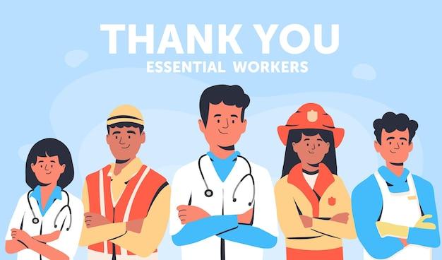 Ilustração de plano orgânico obrigado trabalhadores essenciais