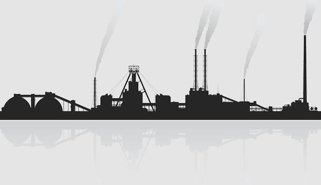 Ilustração de planta de refinaria de petróleo