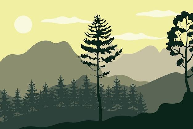 Ilustração de plantas de pinheiros em paisagem de floresta