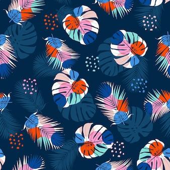 Ilustração de plantas exóticas da selva tropical moderna monstera e folhas de palmeira preenchidas com padrão geométrico sem emenda
