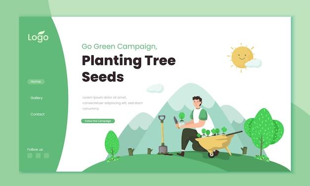 Ilustração de plantio de sementes de árvores no modelo da página de destino