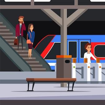 Ilustração de plataforma de metrô