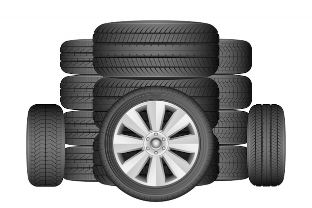 Ilustração de pneu de carro isolada no fundo branco