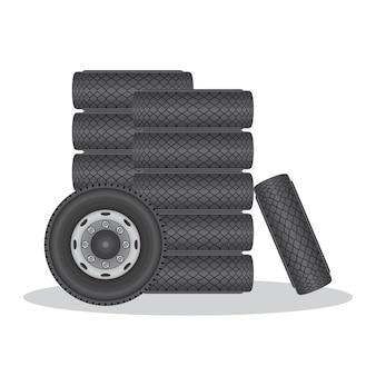 Ilustração de pneu de carro roda isolada no branco