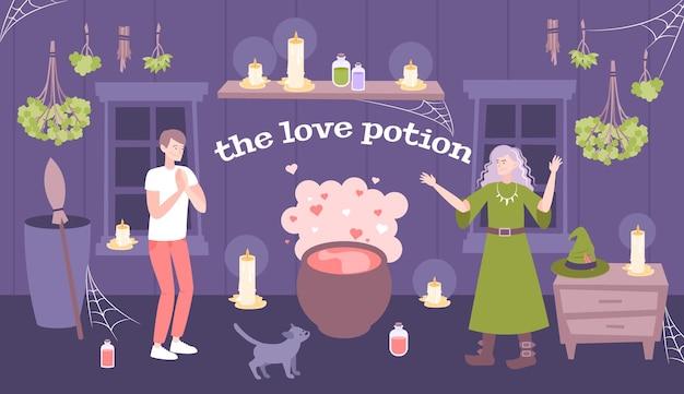 Ilustração de poção do amor