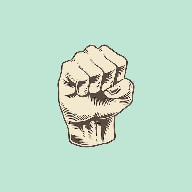 Ilustração, de, poder, punho, ícone