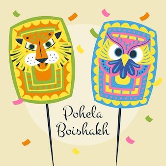Ilustração de pohela boishakh desenhada à mão