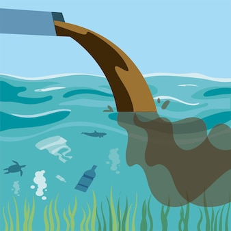 Ilustração de poluição, água suja e emissão de lixo