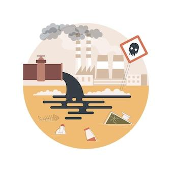Ilustração de poluição da água