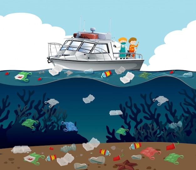 Ilustração de poluição de água com lixo no oceano