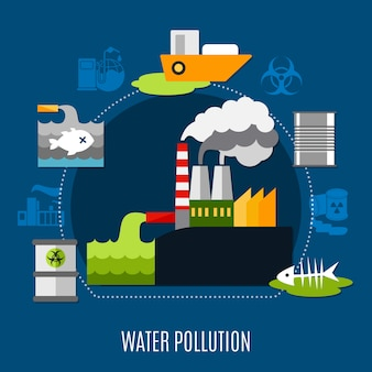 Ilustração de poluição de água