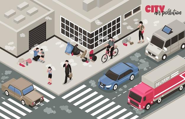 Ilustração de poluição do ar com símbolos de problemas de cidade isométrica