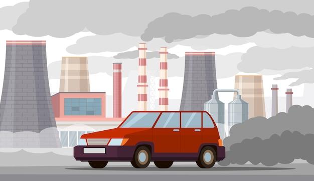 Ilustração de poluição do ar do carro