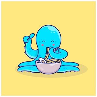 Ilustração de polvo fofo comendo ramen