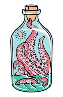 Ilustração de polvo na garrafa