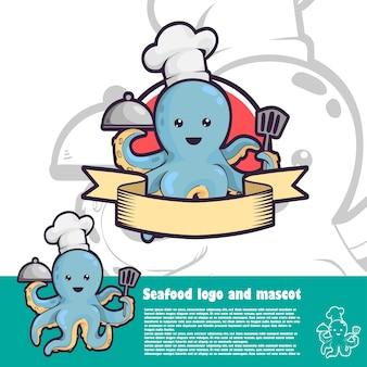 Ilustração de polvo para logotipo de frutos do mar Vetor Premium