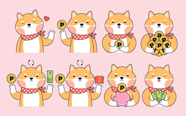 Ilustração de pontos de coleta de personagem japonês desenhado à mão