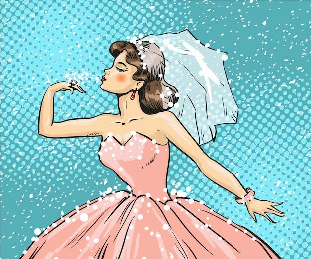 Ilustração de pop art da noiva olhando para o anel de casamento