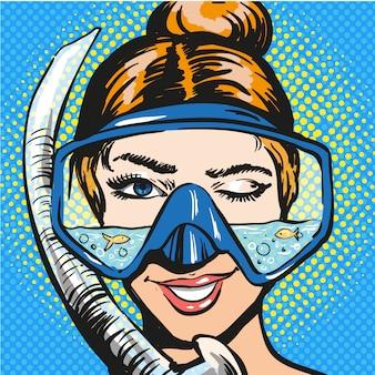 Ilustração de pop art de mulher em equipamento de mergulho