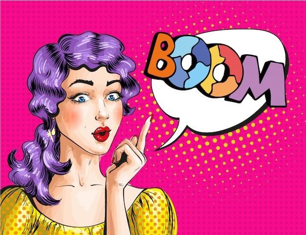 Ilustração de pop art de mulher mostrando a palavra boom