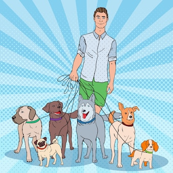 Ilustração de pop art dog walker