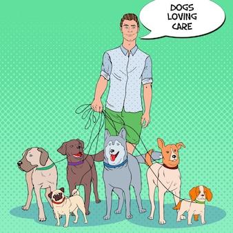 Ilustração de pop art man dog walker