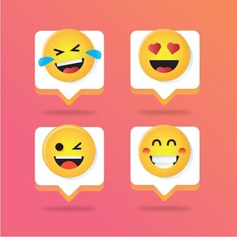 Ilustração de pop-up de mensagem de notificação de emoji para modelo de mídia social