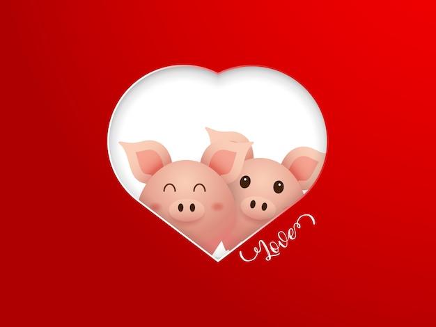 Ilustração de porco bonito casal com moldura de forma de coração no vetor de desenhos animados de fundo vermelho