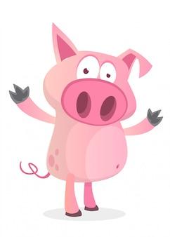 Ilustração de porco engraçado dos desenhos animados