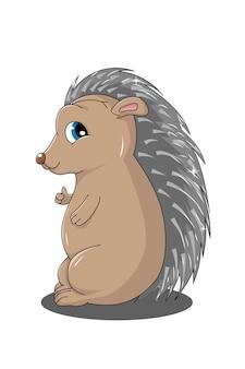 Ilustração de porco-espinho de desenho animado fofo