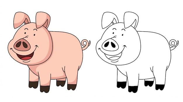 Ilustração de porco para colorir educacional