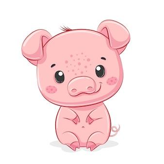 Ilustração de porquinho fofa.