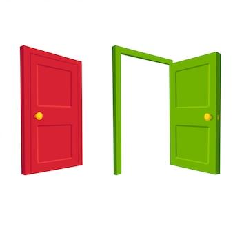 Ilustração de porta aberta e fechada