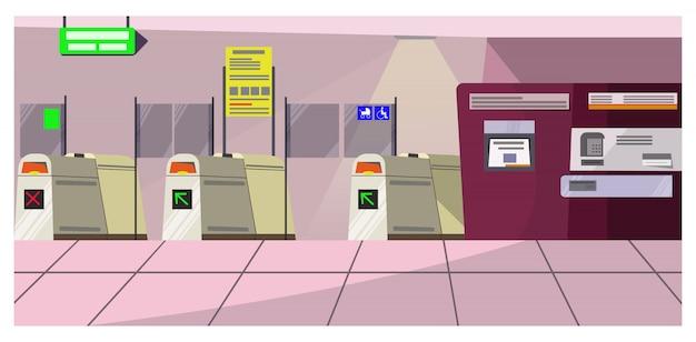 Ilustração de portões de segurança do aeroporto