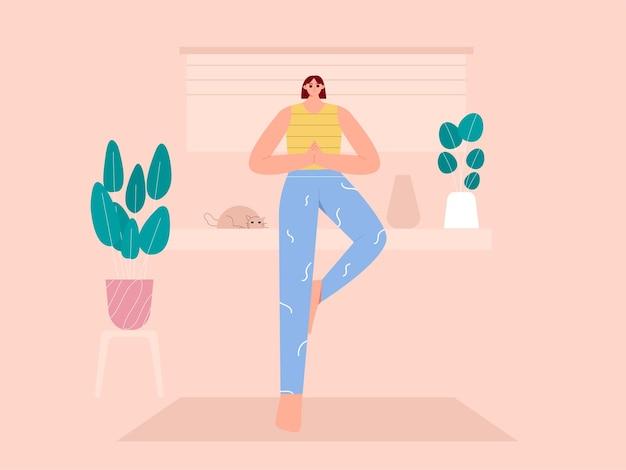 Ilustração de poses de árvore de ioga de mulher