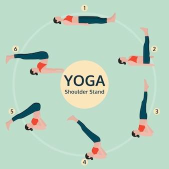 Ilustração de poses de exercícios de ioga