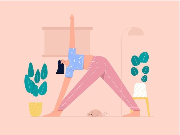 Ilustração de poses de triângulo de ioga de mulher