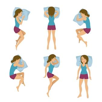 Ilustração de posições de dormir de mulheres.
