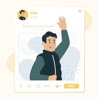 Ilustração de postagem em mídia social, interface