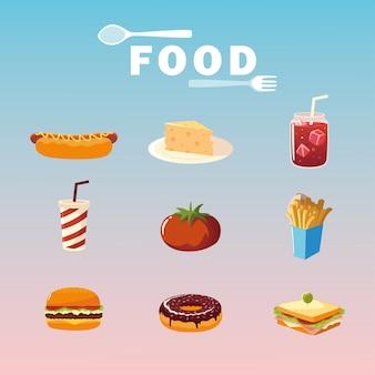 Ilustração de pôster com comida cachorro-quente hambúrguer tomate refrigerante suco sanduíche batatas fritas