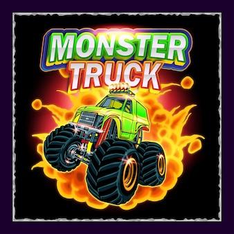 Ilustração de pôster com modelo editável do monster truck