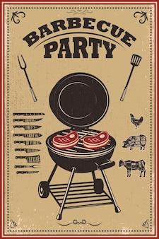 Ilustração de pôster de festa para churrasco