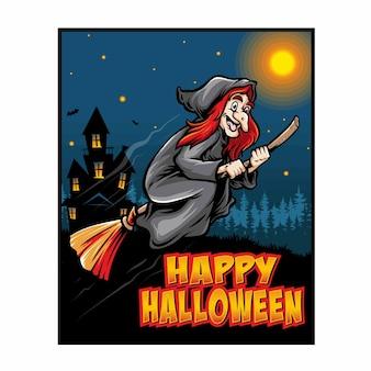Ilustração de pôster de halloween de bruxa voadora