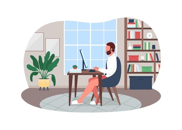 Ilustração de pôster de reunião de trabalho online