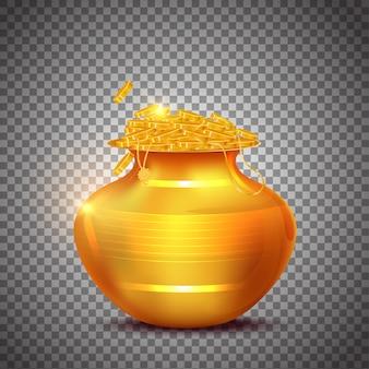 Ilustração de pote de riqueza dourada