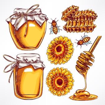 Ilustração de potes de mel