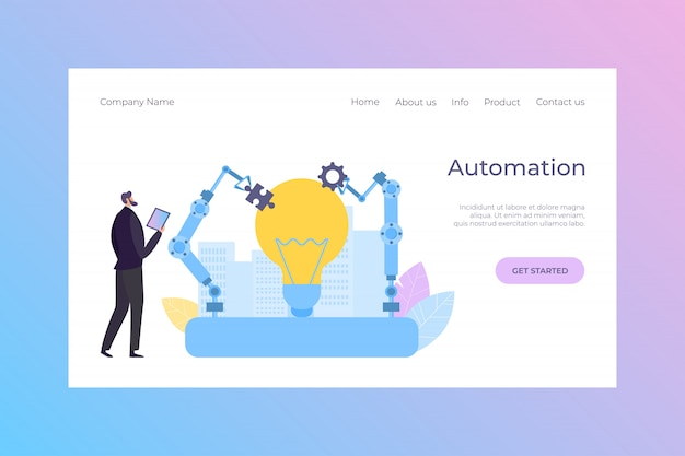Ilustração de pouso do robô de automação de controle de gerente. equipamento de engenharia inteligente, tecnologia automatizada dos desenhos animados.