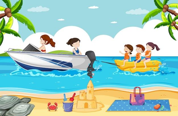 Ilustração de praia com pessoas brincando de banana boat